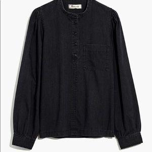 NWT MADEWELL Denim Collarless Popover Shirt